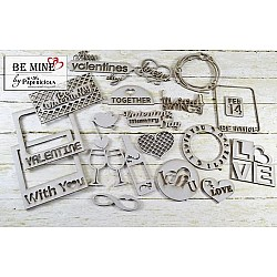 Papericious Themed Chipboard Elements - Be Mine