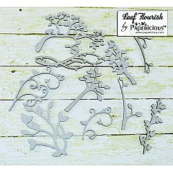 Papericious Collage Chipboard Elements - Leaf Flourishes