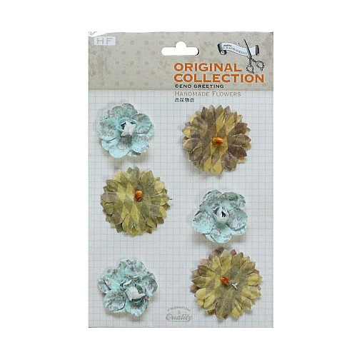 Handmade Flowers by EnoGreeting - Blues and Browns