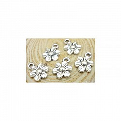 Flowers metal charms - pack of 10