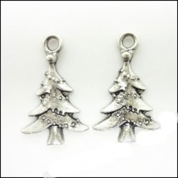 Christmas Tree metal charms - pack of 10