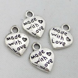 Made with Love metal charms - pack of 10