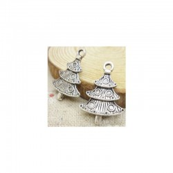 Christmas Tree metal charms - pack of 10 CAMC-184
