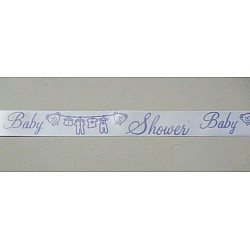 Baby Shower Ribbon  - White and Purple
