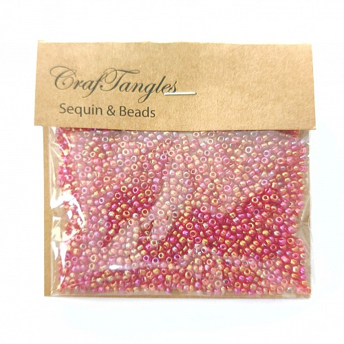 CrafTangles Seed Beads - Iridescent Coral Red