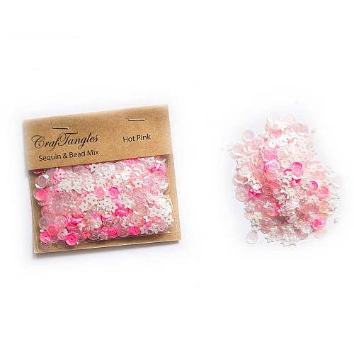 Hot Pink - CrafTangles Sequin and Bead Mixes