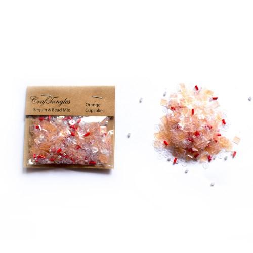 Orange Cupcake - CrafTangles Sequin and Bead Mixes