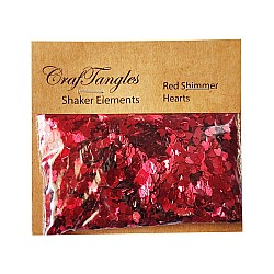 CrafTangles Shaker Elements - Red Shimmer Hearts (10 gms)