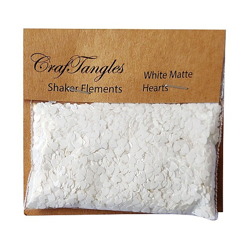 CrafTangles Shaker Elements - White Matte Hearts (10 gms)
