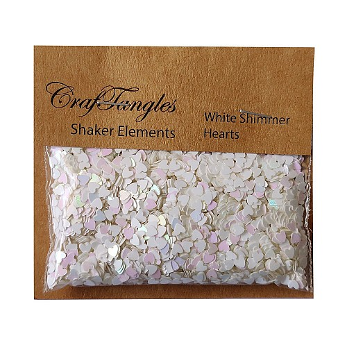 CrafTangles Shaker Elements - White Shimmer Hearts (10 gms)