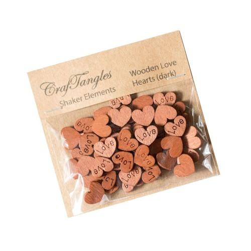 CrafTangles Shaker Elements - Wooden Love Hearts (Dark)