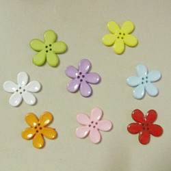 Plastic Flower Buttons - Mix Bright Colors