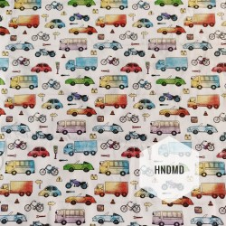 Printed Fabric - Multicolor Vehicles