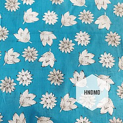 Printed Fabric - Floral Pattern with blue Background