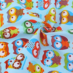 Printed Fabric - Owls with blue Background