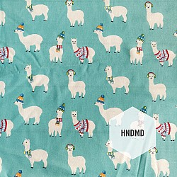 Printed Fabric - Llama with Blue background