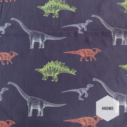 Printed Fabric - Dinosaurs with blue Background