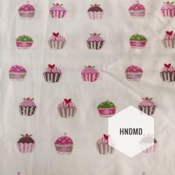 Printed Fabric - Pink Cupcakes
