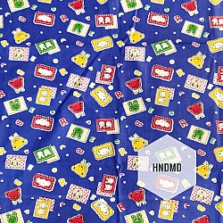 Printed Fabric - Baby Icons with blue background