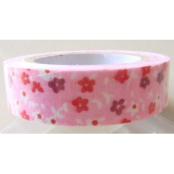 Floral Print - Red and Light Pink - Fabric Tape