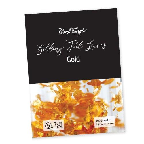 CrafTangles Gilding Foil Leaves - Gold (Pack of 100 leaves)