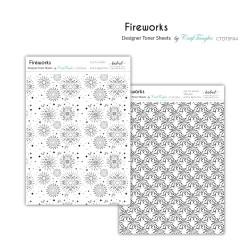 CrafTangles Designer Toner Sheets - Fireworks (2 sheets of A4)