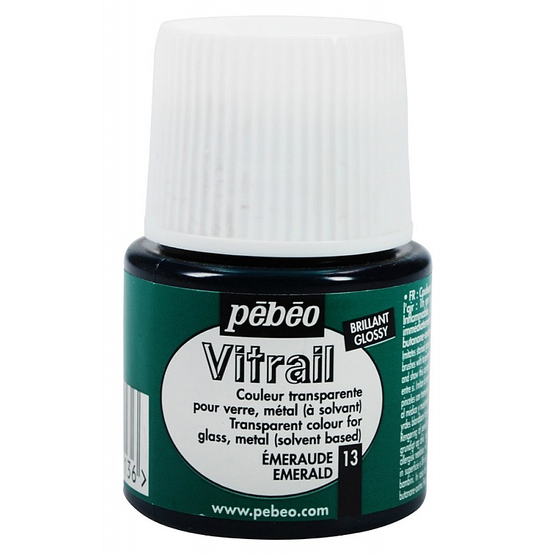 Buy pebeo vitrail satin glass color 45ml emerald for Emerald satin paint