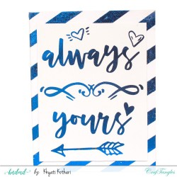 Always Yours blue foiled handmade card