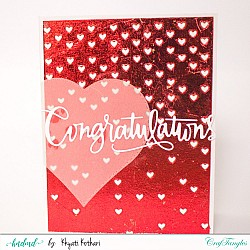 Red foiled Congratulations handmade card with falling hearts