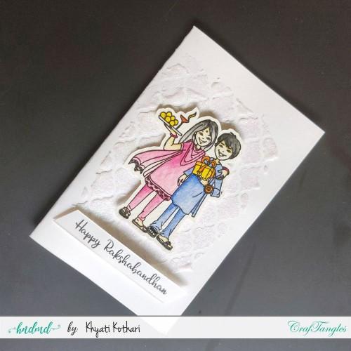 Rakhi Card with White glitter background handmade card