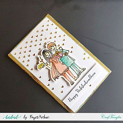 Rakhi Card with gold foiled background handmade card