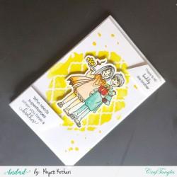Rakhi Card with yellow sprayed background handmade card