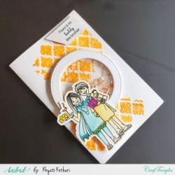 Rakhi Card shaker card with orange glitter background handmade card