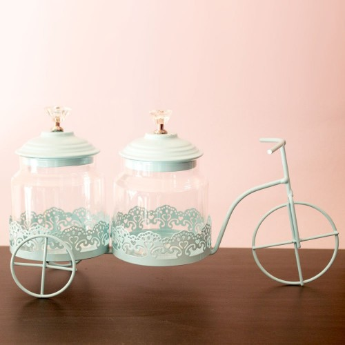Decorative metal cycle with 2 glass jars (Baby Blue)