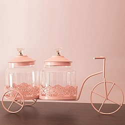 Decorative metal cycle with 2 glass jars (Baby Pink)