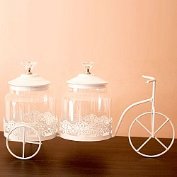 Decorative metal cycle with 2 glass jars (White)