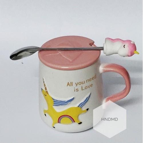 Unicorn Mug with stirrer and lid