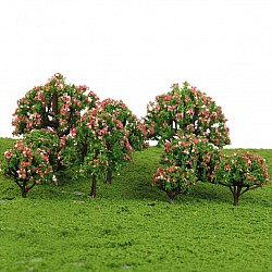 Miniatures - Green Trees with flowers (10 pcs)