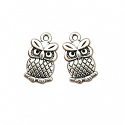 Tiny Owl  Metal Charms (Set of 5 pcs)