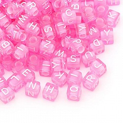 Plastic Alphabet Connectors for Jewellery (Pack of 100) - Baby Pink