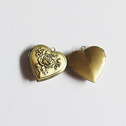 Photo Locket - Heart (Rose Carved)