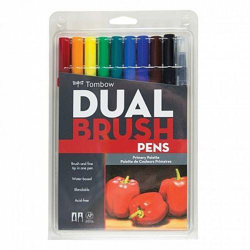 Tombow dual brush pen (Set of 10) - Primary
