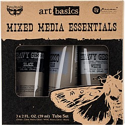 Finnabair Art Basics Mixed Media Essentials - Clear, White and Black Gesso
