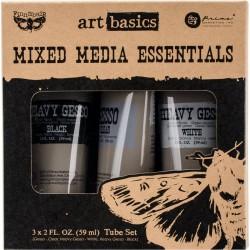 Prima Finnabair Art Basics Mixed Media Essentials - Clear, White and Black Gesso