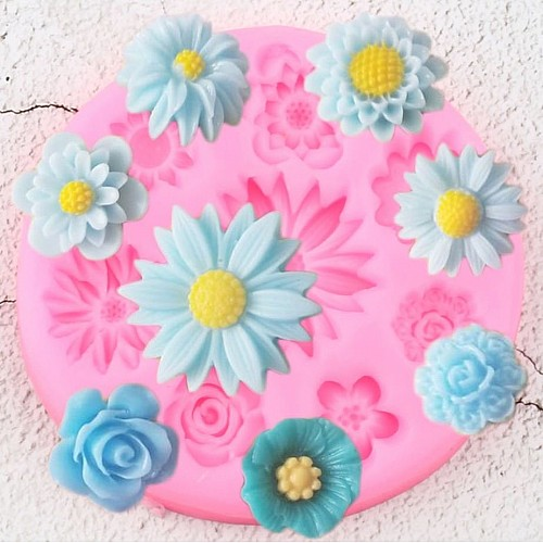 Many Flowers Silicon Clay Mold