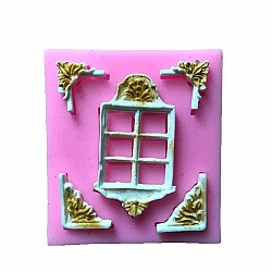 Vintage window with Corners Silicon Clay Mold