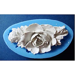 A Stem with Rose and Rose bud Silicon Clay Mold