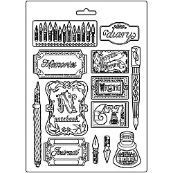 """Stamperia Soft Maxi Mould 8.5""""X11.5"""" - Inks and Labels Calligraphy"""