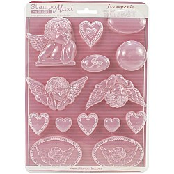 """Stamperia Soft Maxi Mould 8.5""""X11.5"""" - Angels and Hearts"""
