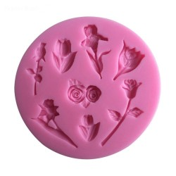 Mixed Flowers Silicon Clay Mold (Round)